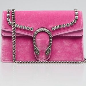 Gucci Dionysus Supermini Pink Velvet CrossBody Bag